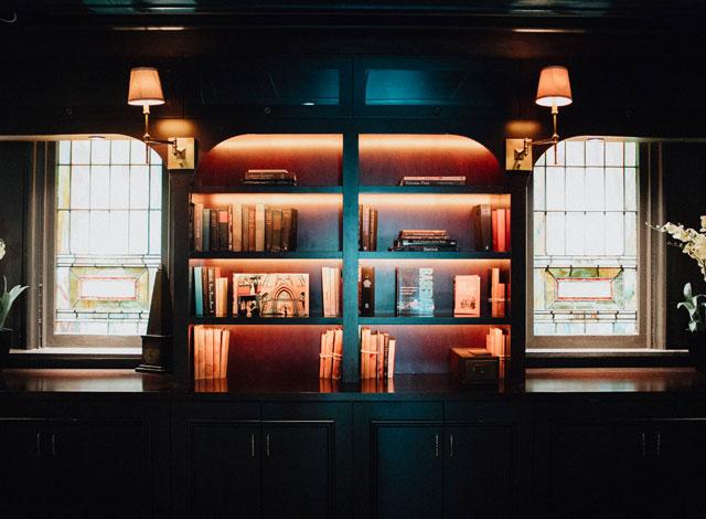 bookcase in the Registrar