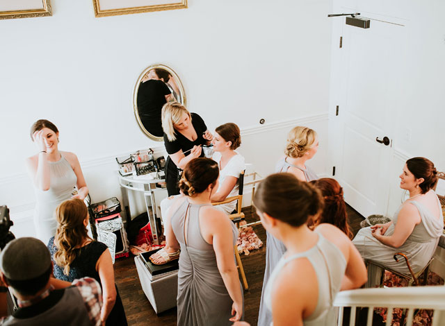 Bridesmaids getting ready in the Bridal Tower at The Transept