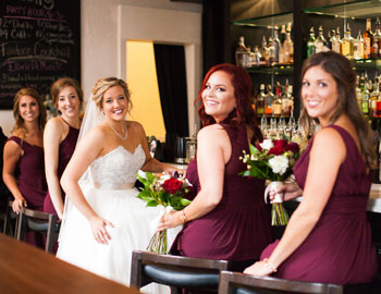 Bride & bridesmaids in the North Tap Room at the Transept