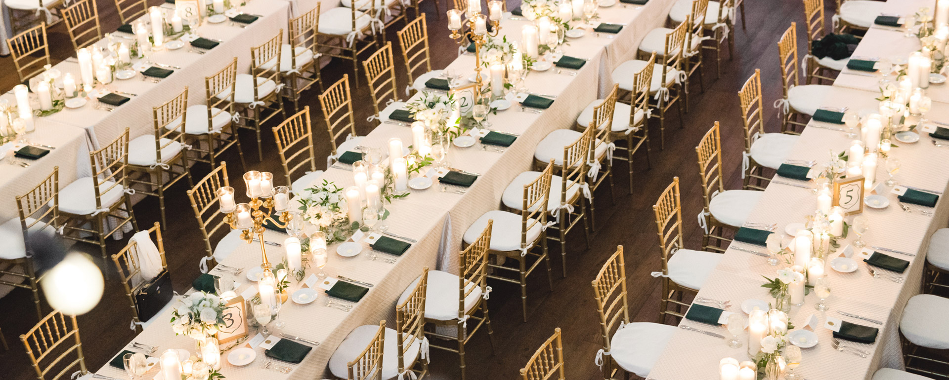 Wedding reception in The Assembly with long tables