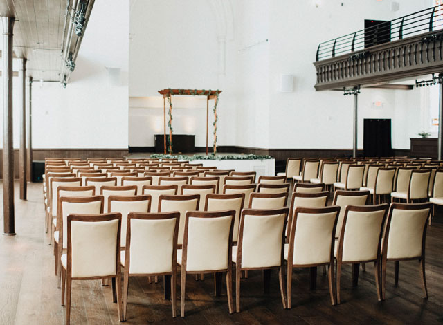 Chairs setup for a wedding ceremony at The Assembly