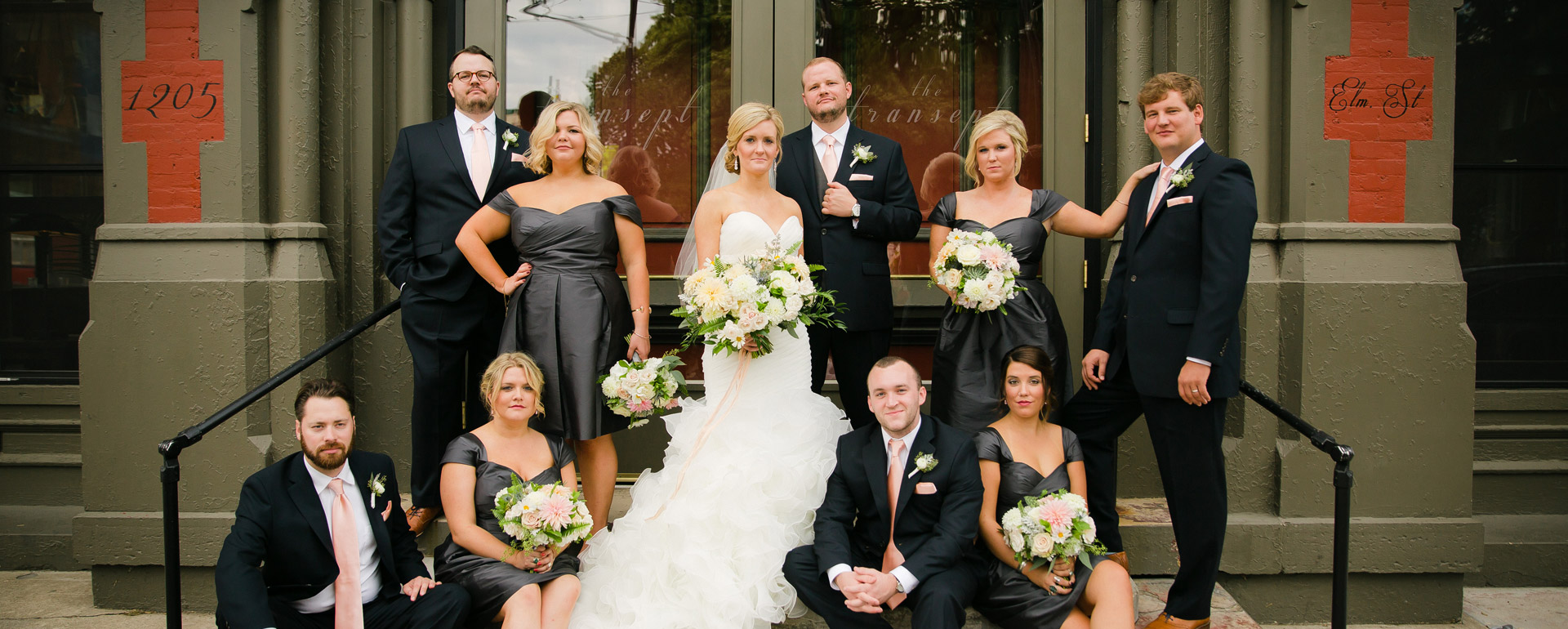 Bridal Party on the Steps of The Transept